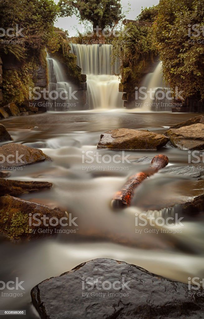 Waterfalls at Penllergare woods stock photo