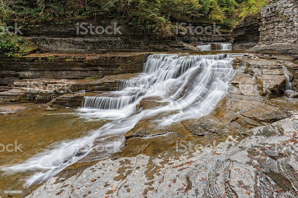 Waterfalls At The Robert H. Treman State Park stock photo