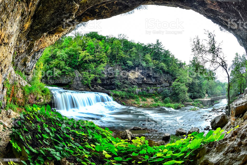 Waterfalls at Willow River State Park in Wisconsin stock photo