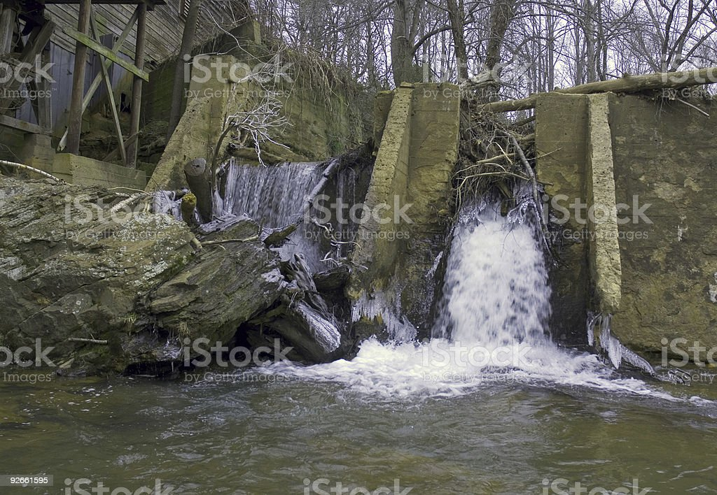 Waterfalls by a Gristmill royalty-free stock photo