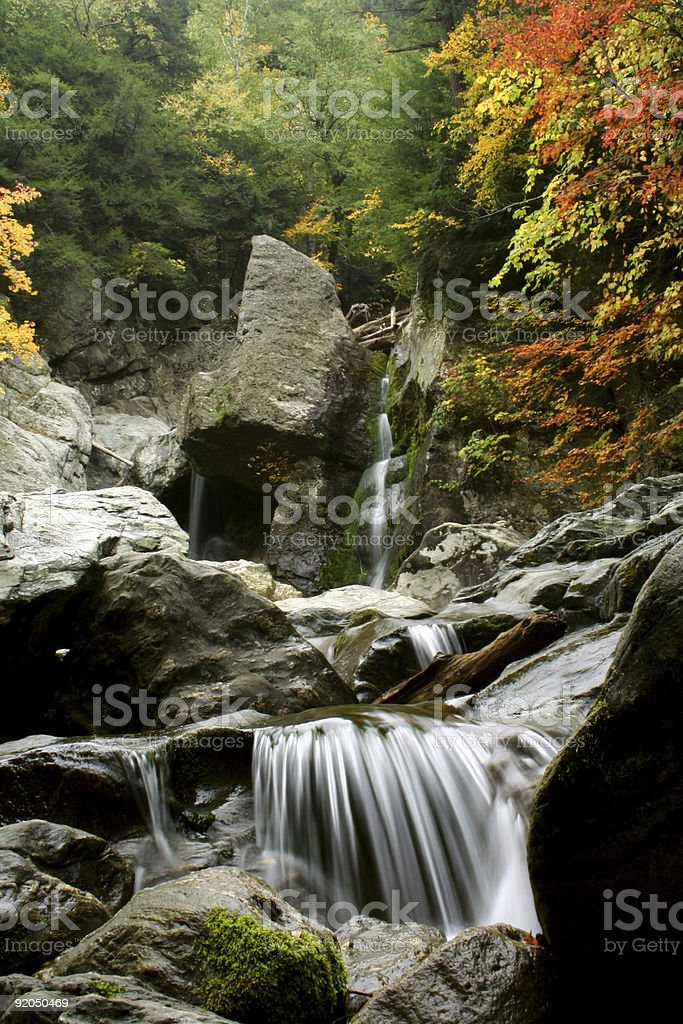 Waterfalls during autumn in New England stock photo