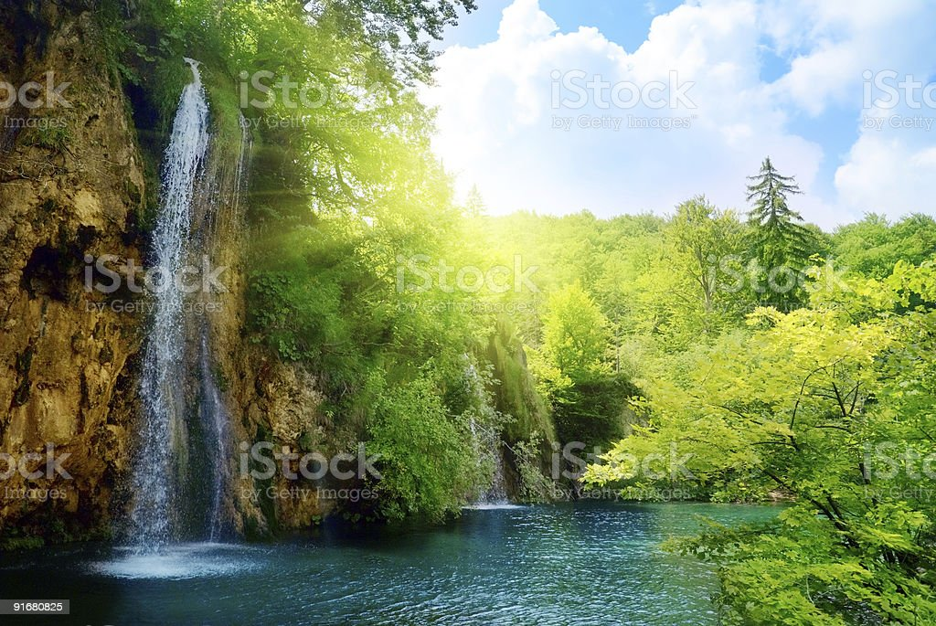 waterfalls in deep forest royalty-free stock photo