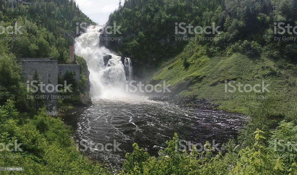 Waterfalls in historical Val-Jalbert site stock photo