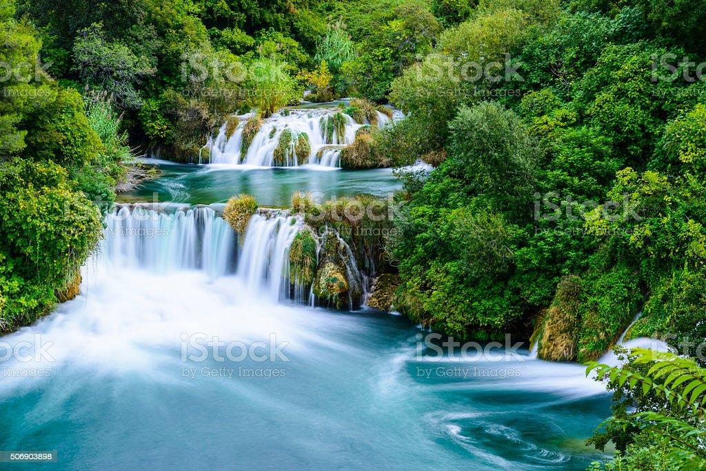 Waterfalls in Krka National Park, Croatia stock photo