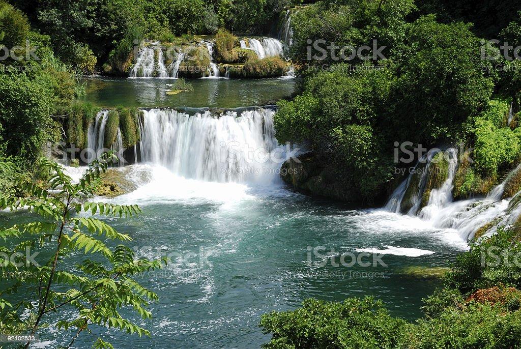 Waterfalls in Krka National Park in Croatia stock photo