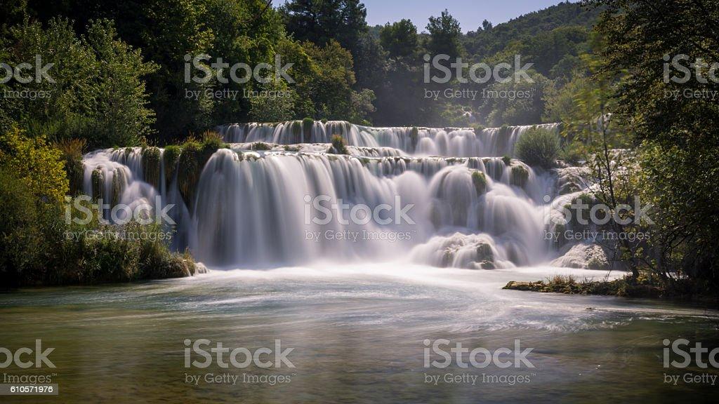 Waterfalls in national park. Krka National Park, Croatia stock photo