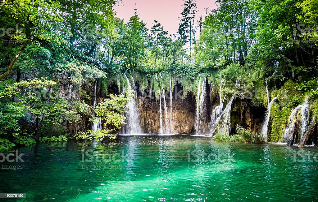 Waterfalls in Plitvice Lakes National Park, Croatia stock photo