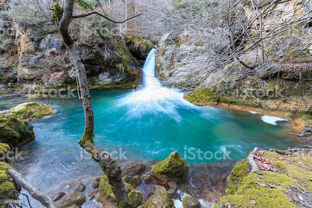 Waterfalls in the Nature Reserve Urederra stock photo
