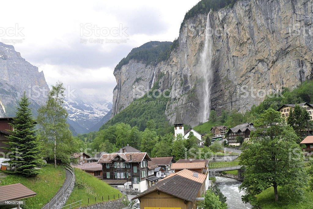Waterfalls in the village of Lauterbrunnen Valley, Switzerland stock photo