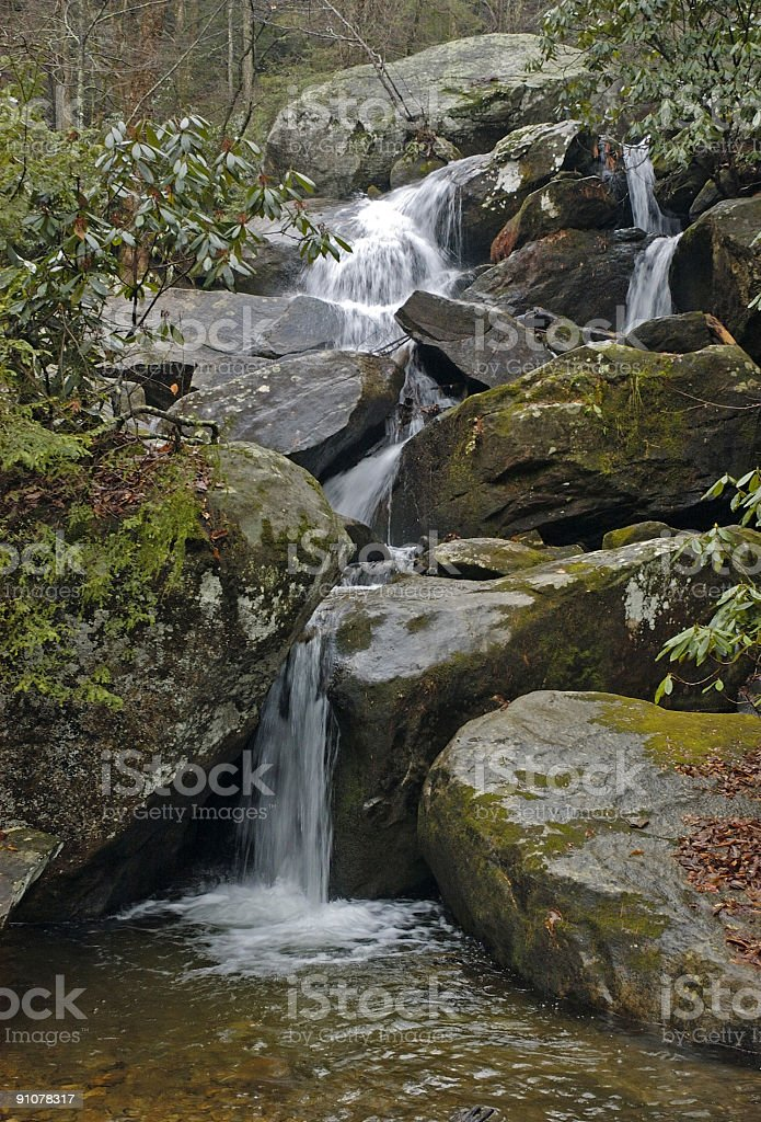 waterfalls in the woods royalty-free stock photo