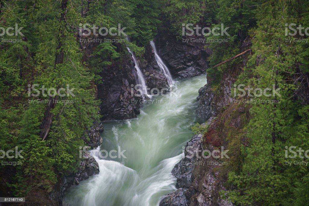 Waterfalls into Gordon River stock photo