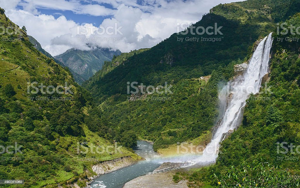 Waterfalls into the Kameng river, Arunachal Pradesh, India. stock photo