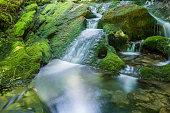 Waterfalls near the source of Zirauntza river, Alava (Spain)