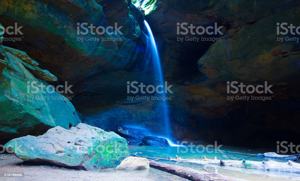 Waterfalls of Conkle's Hollow in Hocking Hills State Park stock photo