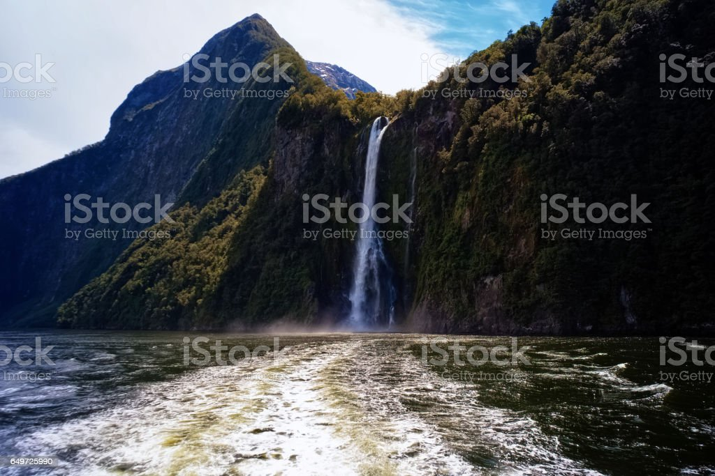 Waterfalls Of Milford Sound, New Zealand stock photo