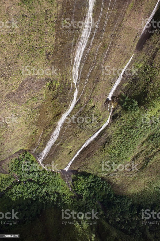 Waterfalls on Hawaii viewed from a helicopter stock photo