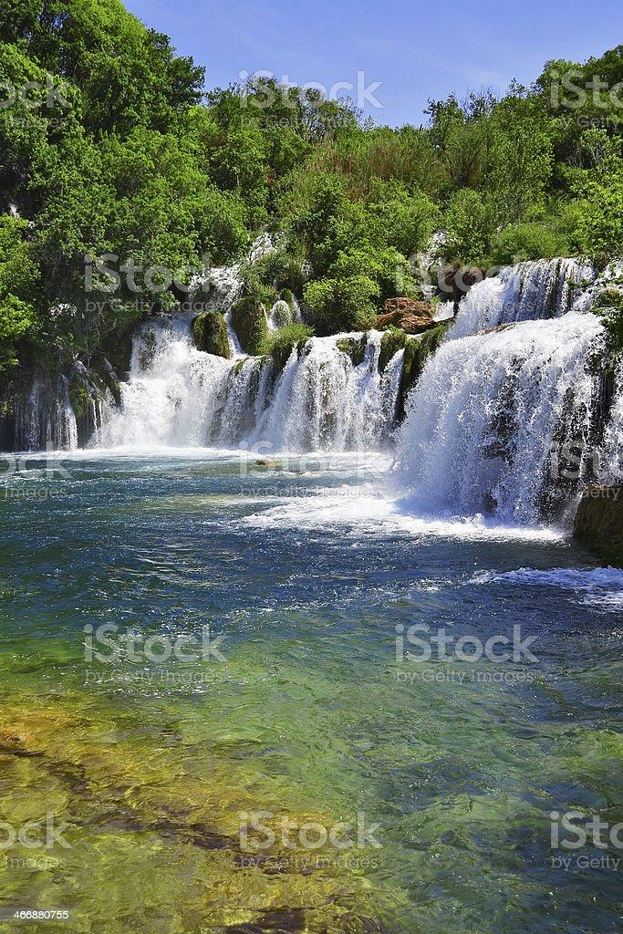 Waterfalls on Krka River. National Park, Dalmatia, Croatia stock photo