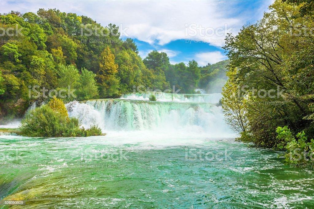 Waterfalls on Krka River stock photo