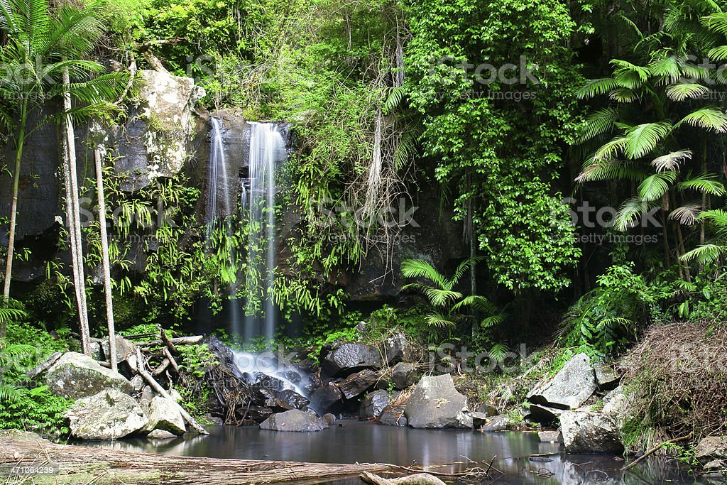 Waterfalls with forests and rocks royalty-free stock photo