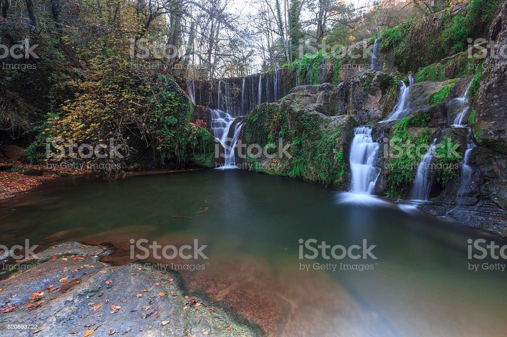 Waterfall-Santa Pau- Girona- Spain stock photo