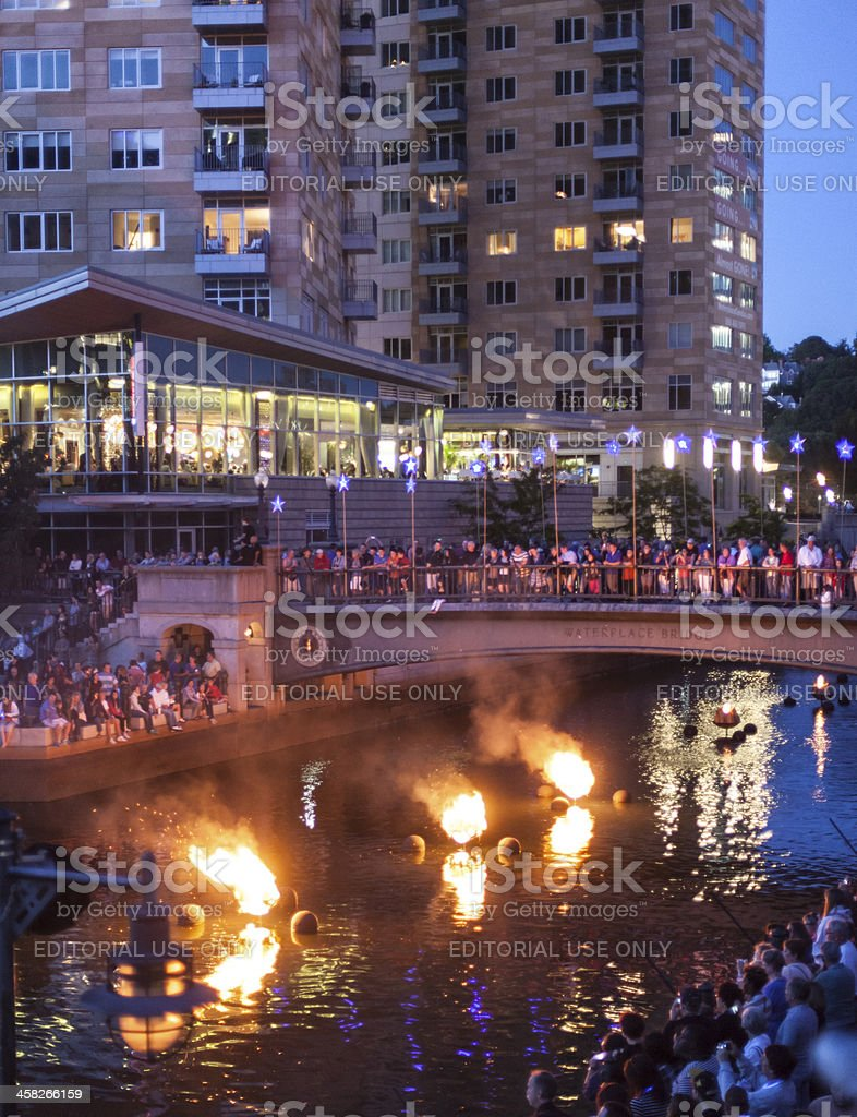Waterfire, an outdoor art event in Providence Rhode Island royalty-free stock photo