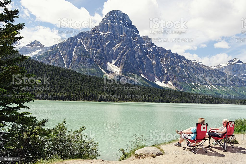 Waterfowl Lake and Mount Chephren in Canadian Rocky Mountains stock photo