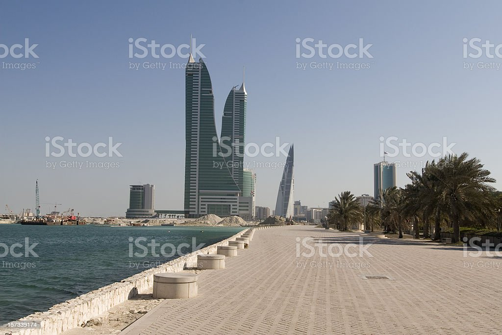 Waterfront and Bahrain Financial harbour stock photo