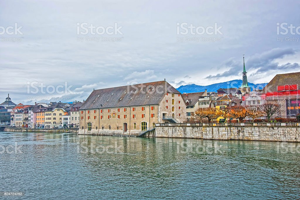Waterfront and Clock Tower with Landhaus in Solothurn in Switzer stock photo
