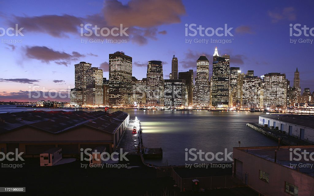 Waterfront And Manhattan Skyline At Dusk royalty-free stock photo