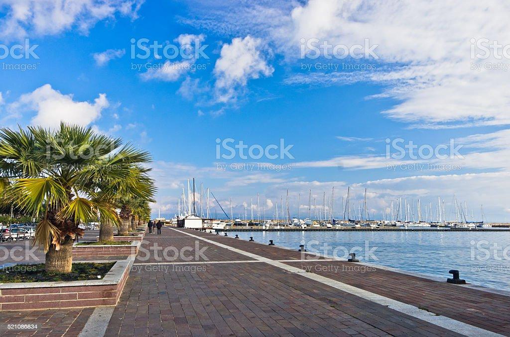 Waterfront and marina at Carloforte harbor, San Pietro island, Sardinia stock photo