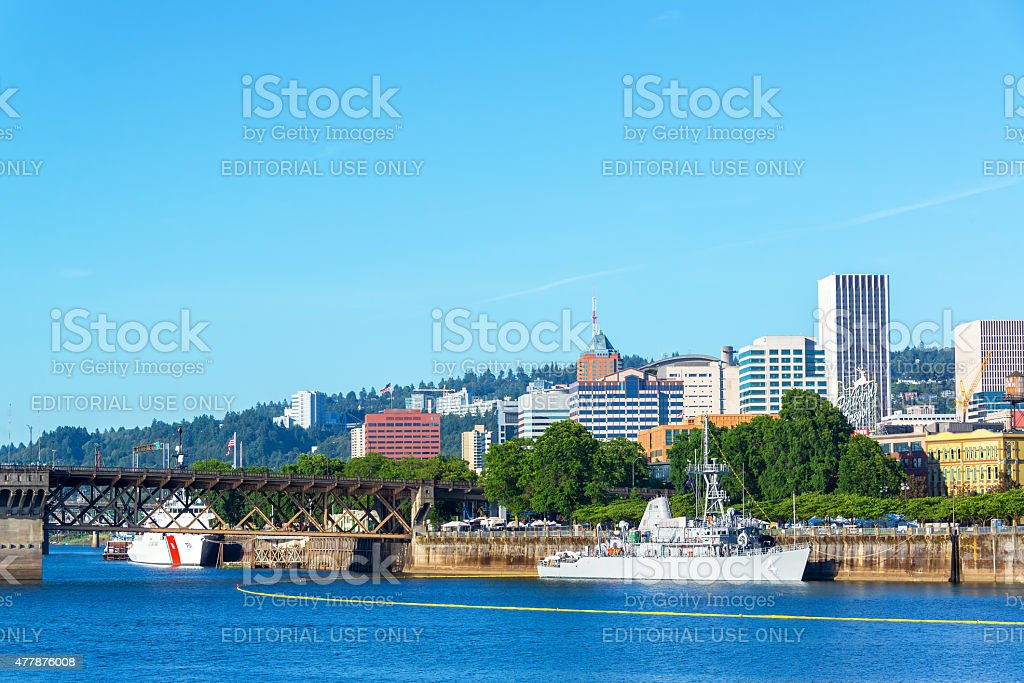 Waterfront and Navy Ships stock photo