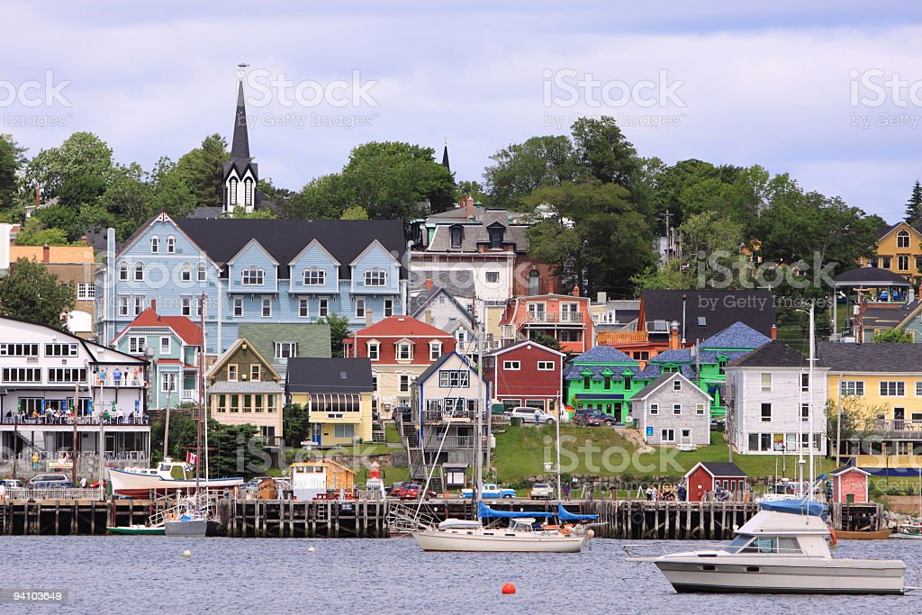 Waterfront and Piers at Lunenburg stock photo