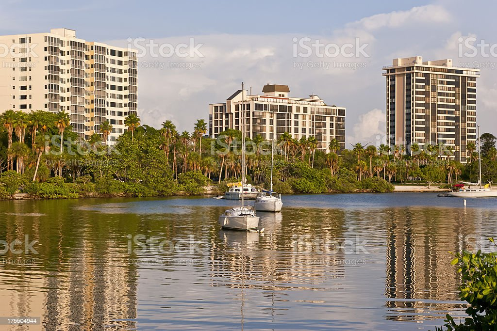 Waterfront Apartment Buildings at Sunset stock photo