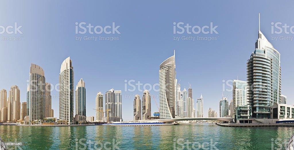 Waterfront apartment buildings Dubai Marina royalty-free stock photo