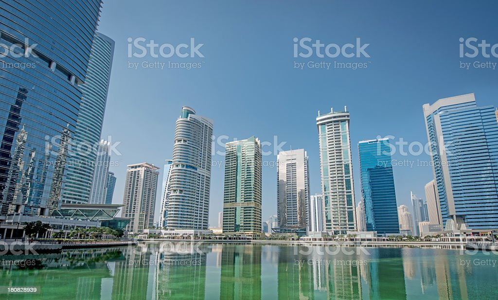 Waterfront apartments and office development stock photo