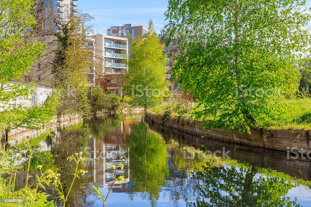 Waterfront Apartments in London stock photo