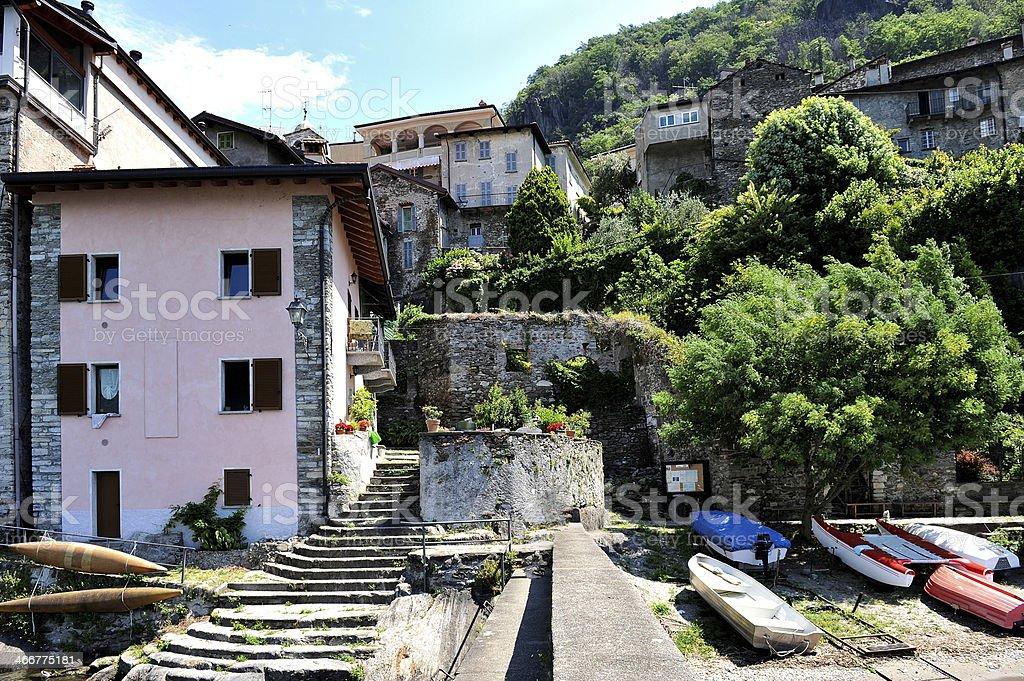 Waterfront at Corenno Plinio on Lake Como royalty-free stock photo