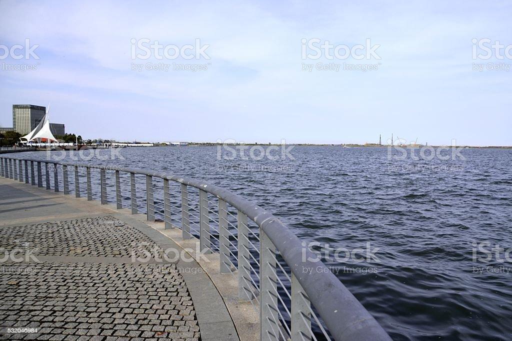 Waterfront at Dishui lake, Shanghai, China stock photo