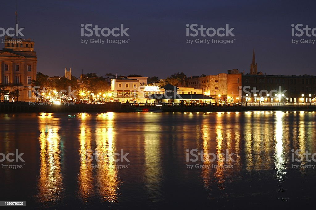 Waterfront at night stock photo