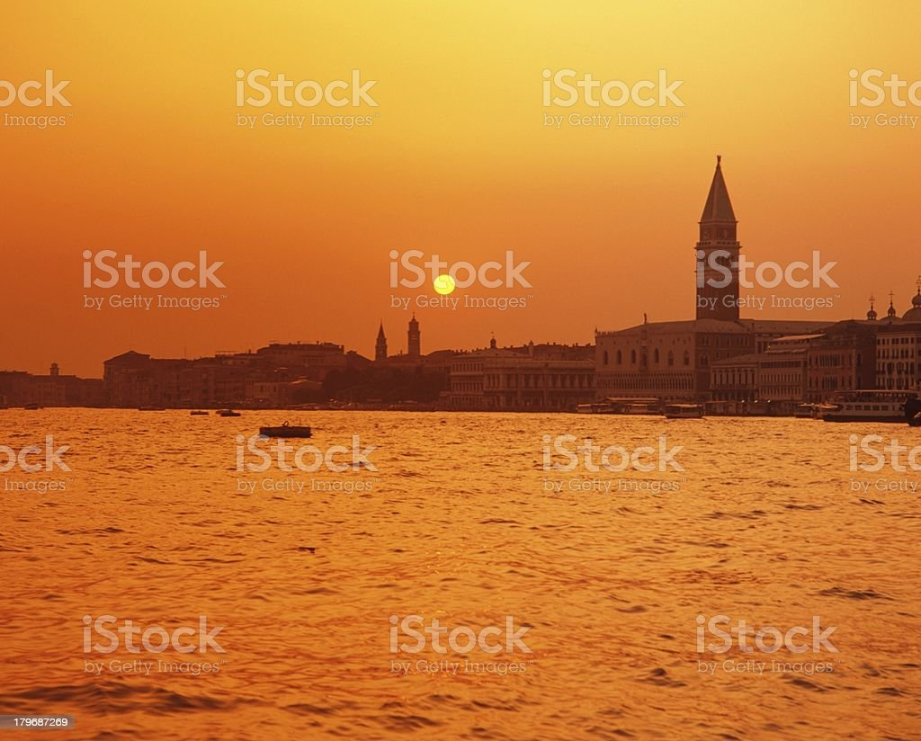 Waterfront at sunset, Venice, Italy. royalty-free stock photo