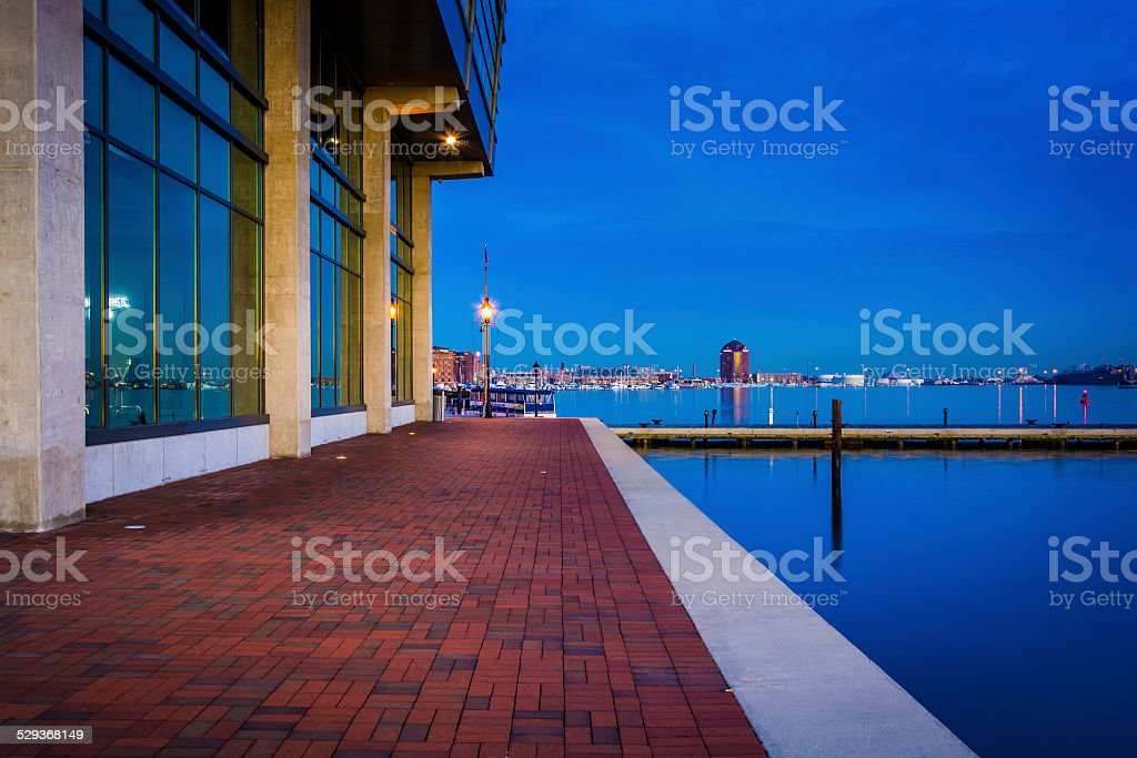 Waterfront building at twilight in Fells Point, Baltimore, Maryl stock photo