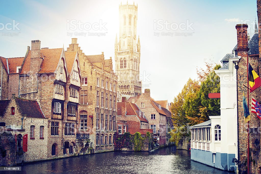 Waterfront Buildings in Bruges, Belgium stock photo