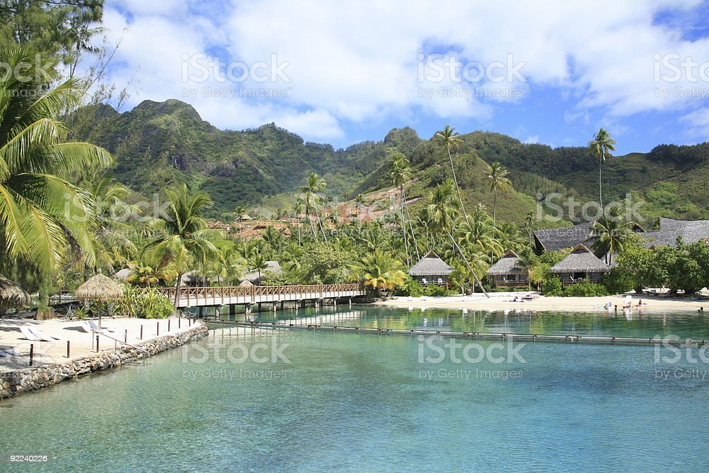Waterfront Bungalows in the South Pacific - Moorea, French Polynesia royalty-free stock photo