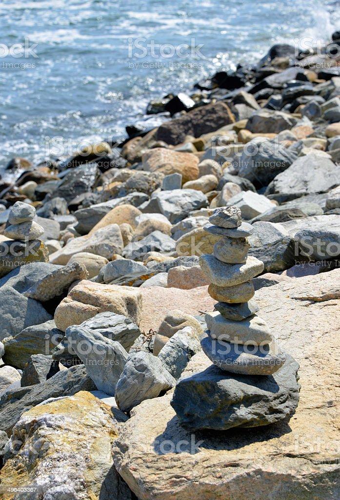 Waterfront cairn - Narragansett, RI stock photo