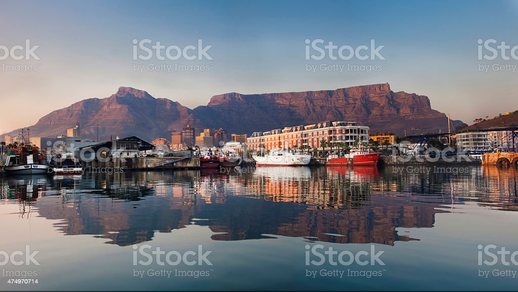 Waterfront Cape Town reflection in the morning stock photo