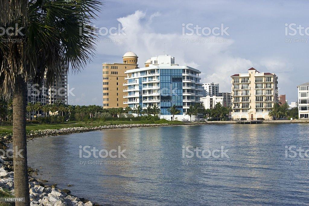 Waterfront Condos on Sarasota Bay stock photo