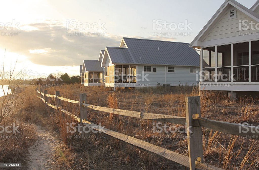 Waterfront cottages royalty-free stock photo