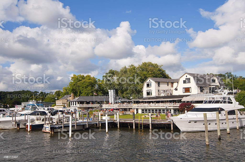 Waterfront crowds stock photo