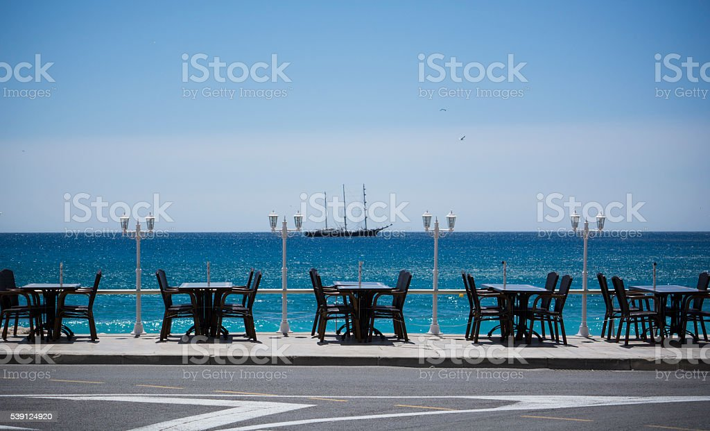 Waterfront dining stock photo