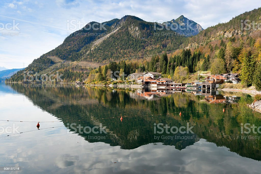 Waterfront from Walchensee Bavaria stock photo